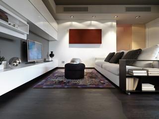 soggiorno moderno con divano  e pavimento di legno