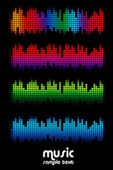 colored music spectrum set