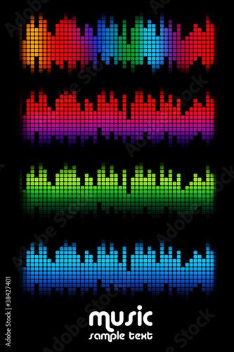 colored music spectrum set
