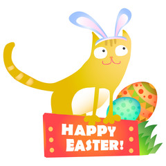 Happy Easter rabbit with egg