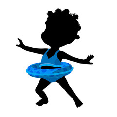 Little African American Swimsuit Girl Illustration Silhouette