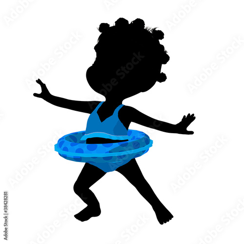 Little African American Swimsuit Girl Illustration Silhouette