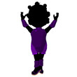 Little African American Asian Girl Silhouette Illustration