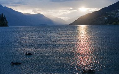 Evening view of the lake near Queenstown