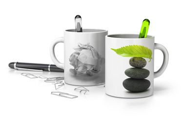 stressed and serene executive mugs