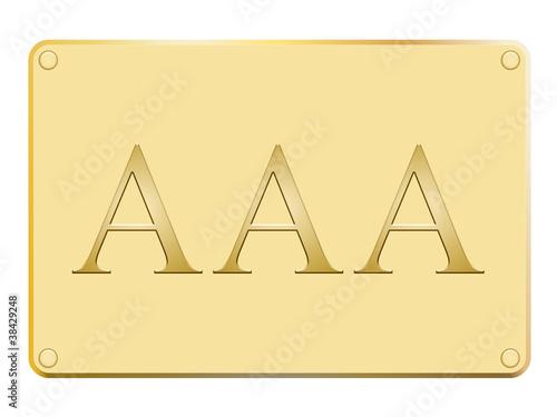 Plaque en or avec triple A