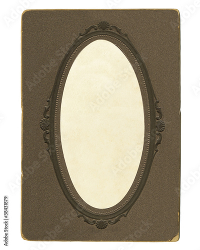 old vintage photoframe with oval vignette