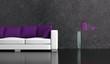 Wohndesign - Sfa mit lila Kissen
