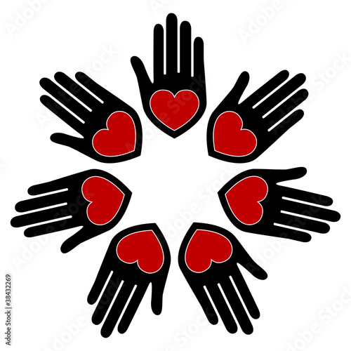 United hands and hearts vector.
