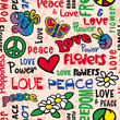 Peace and love seamless pattern