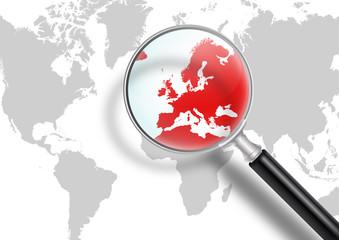 Weltkarte, Lupe, Europa, Krise, rot, Eurokrise, Suchen, Lösungen