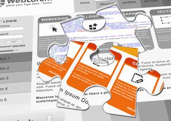 Webdesign, Template, Puzzle, Vorlage, Homepage, Design, Code, 3D