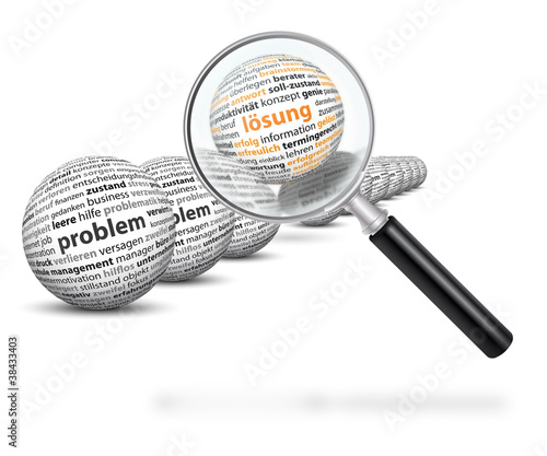 Problem, Lösung, Lupe, Fokus, Analyse, analysieren, Kugel, 3D