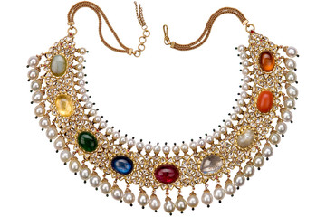 antique precious stones studded gold jewelry, Rajasthan, India