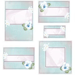 Antique blue and pink wedding banner with flowers