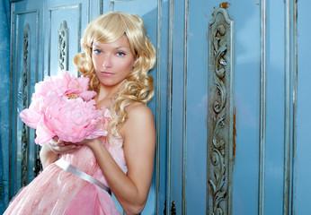 blond fashion princess and wintage flowers dress