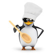 3d Penguin chef offers you a taste