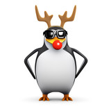 3d Penguin loves to dress as a reindeer at Xmas