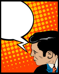 Speech bubble pop art man