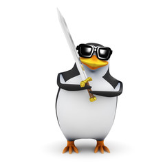3d Penguin the barbarian strikes with his sword
