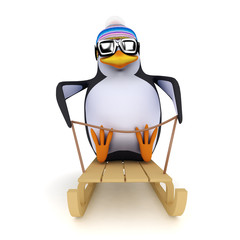3d Penguin slides on his toboggan!