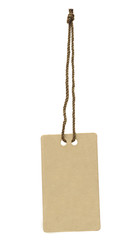 Blank tag tied with string on white background