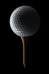 3d Golf ball on tee on black background