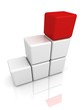 white blocks ladder with red top leader