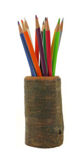 Colorful Pencils in Hollow Log