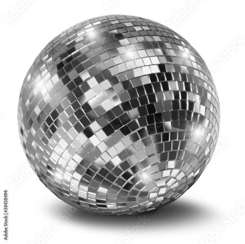 Leinwanddruck Bild Silver disco mirror ball