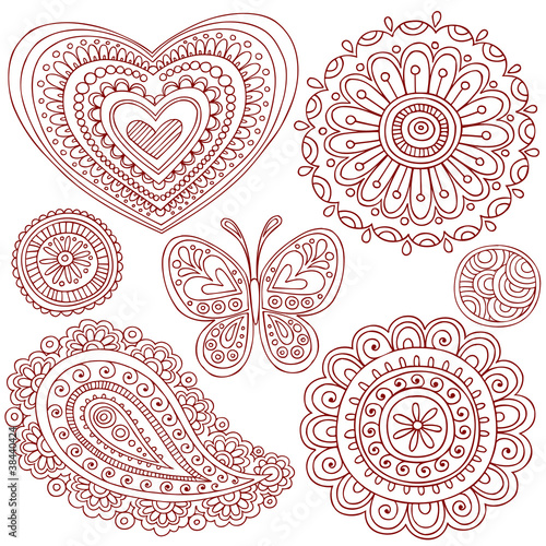 Henna Mehndi Tattoo Doodles Design Elements Set