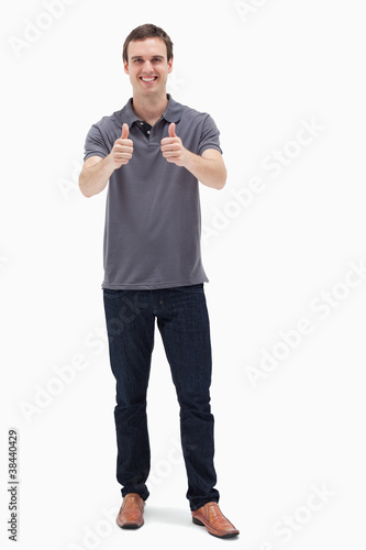 Man approving with his thumbs up