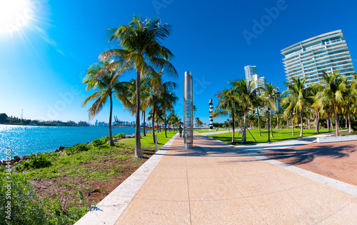Beautiful park South Pointe in Miami Beach, Florida - 38441263