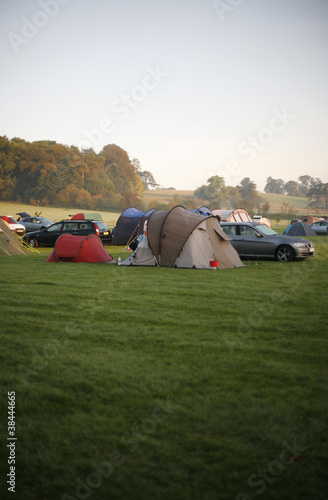 Tents at a campsite on a foggy