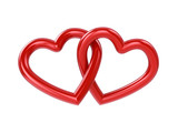 Couple of intersecting red hearts , isolated on white poster