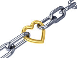 Golden heart link in a chain, isolated on white