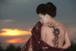 Geisha with dragon tattoo