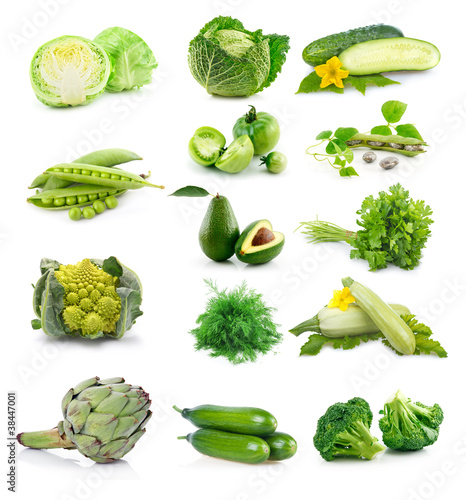 Set of fresh green vegetables isolated on white