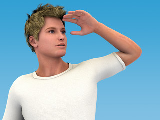 Looking ahead. 3D man looking up and far. Sky blue background.