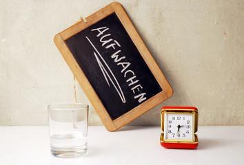 Wecker - Aufwachen Schild - Glas