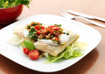 Chimichanga with chicken meat and vegetables