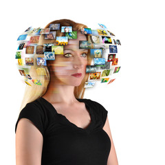 Technology TV Woman with Images
