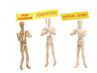 Three wooden dummy demonstrators