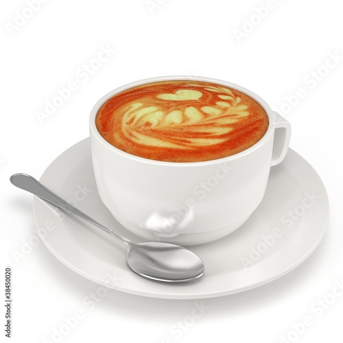 3d coffee cup with plate and spoon