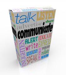 Communication Words on Box Sharing Ideas and Messages