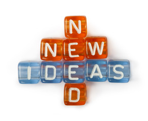 Texts Ideas, New and Need on colorful cubes