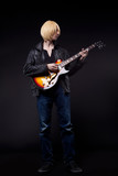 Young blond Man play on guitar cosplay character poster