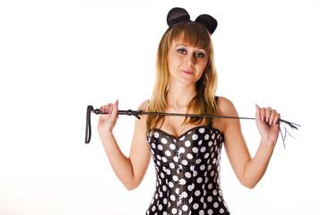Красивая девушка в костюме мышки