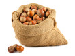 Canvas bag with hazelnuts