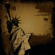 Statue of Liberty and retro scratch background